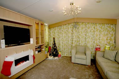 Christmas lounge in caravan - festive decorations