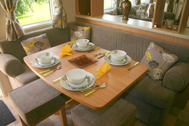 Fixed seating is an option in the dining area