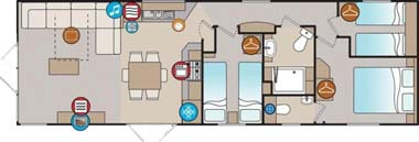 The Willerby 2014 3-bed Skyline holiday home floorplan
