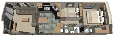 38 x 12 - 2 bed ABI Roxbury holiday home floor plan