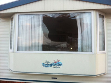 Smashed window caused by swan