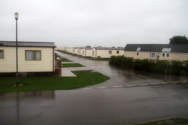 Holiday park in the rain and wet