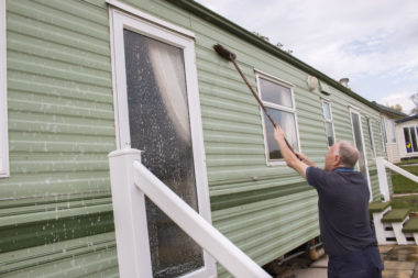 cleaning static caravan