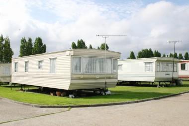 Static caravan with ariel