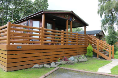 Decking on holiday lodge